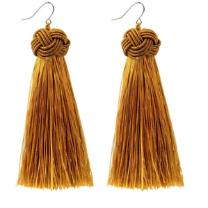EX-ZARA-MUSTARD-YELLOW-GOLD-KNOT-DESIGN-DROP-TASSEL-EARRINGS