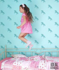 Kinder m dchen einhorn schlafzimmer wand dekoration schablone wandfarbe stoffe ebay - Einhorn dekoration ...