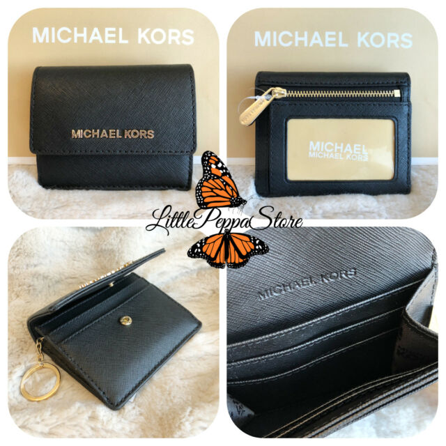 9bdf351002a8 NWT MICHAEL KORS LEATHER JET SET TRAVEL CARD CASE ID KEY HOLDER IN BLACK