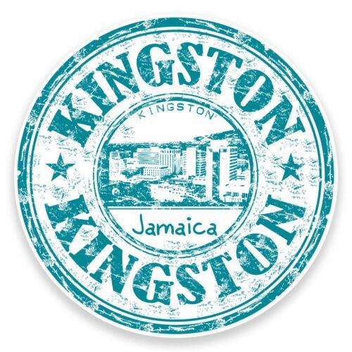 2 x 10cm Kingston Jamaïque Vinyle Autocollant Decal portable Bagage Voyage Étiquette # 9303