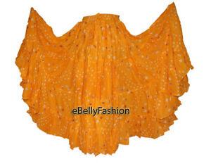 YELLOW-Cotton-JAIPUR-25-Yard-4-Tier-Gypsy-Skirt-Belly-Dance-Tie-amp-Dye-Polka-Dot