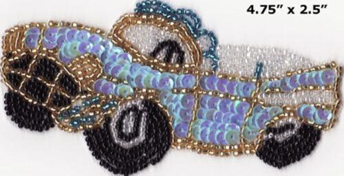 blue Chevy car bead sequin applique sewing scrapbooking automobile fun