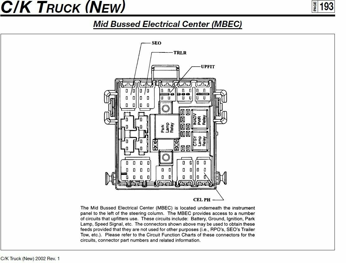 1999 silverado mid bussed electrical center