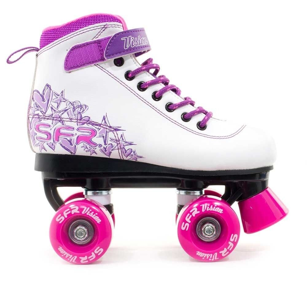 SFR Kids Vision II Girls Quad Roller S s- White  Pink Purple  preferential