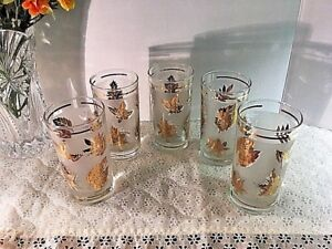 VTG-5-LIBBEY-Frosted-Gold-Leaf-Pattern-5-1-2-Iced-Tea-Tom-Collins-Tumblers