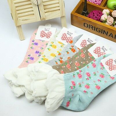 5 Pairs Lot Womens Cute Frilly Ankle Low Cut Casual Summer Cotton Socks Floral