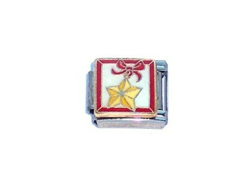 9mm Italian Charm CH1 Xmas Christmas Star Decoration  Fits Classic Size Bracelet