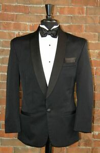 MENS 41 S BLACK SHAWL ROPE BROCADE TUXEDO / JACKET / PANT / SHIRT / BOW