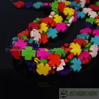 Mix Color Howlite Turquoise Side Ways 15mm Square Cross Spacer Beads 15'' Strand