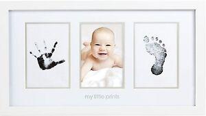 Pearhead Babyprints Newborn Baby Handprint and Footprint Photo Frame Kit, White