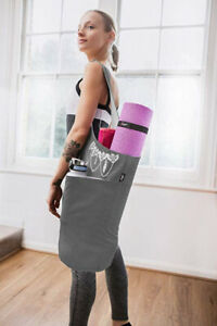 (Gray & White) - Zenifit Yoga Mat Bag - Long Tote with Pockets - Holds More