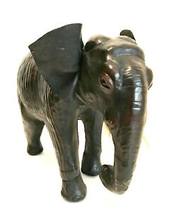Vintage-Leather-Wrapped-Elephant-Figurine-Black-Trunk-Down-9-inches-Tall
