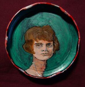 DAPHNE-DU-MAURIER-Jam-Jar-Lid-Portrait-New-Orleans-Outsider-Folk-Art-PETER-ORR