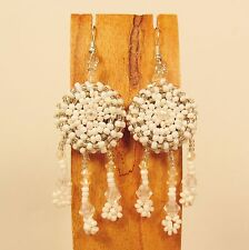 "2 1/2"" White Silver Color Dreamcatcher Handmade Dangle Seed Bead Hook Earring"