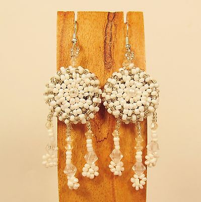 "2 1//2/"" Pearl Color Dreamcatcher Handmade Dangle Seed Bead Hook Earring"