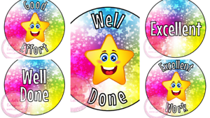 Well-Done-Excellent-School-Teacher-Reward-Stickers-Star-Student-Pupil-Class