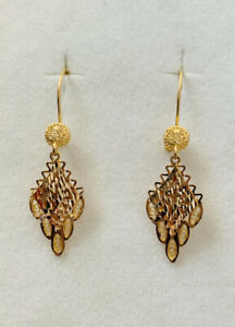 Genuine Solid 22k gold 2 tones earrings 916 gold