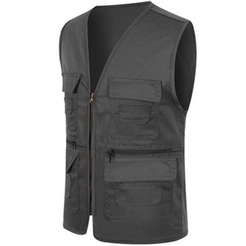 Mens Multi Pocket Traveler Fishing Photography Director Vest Waistcoat Hunting
