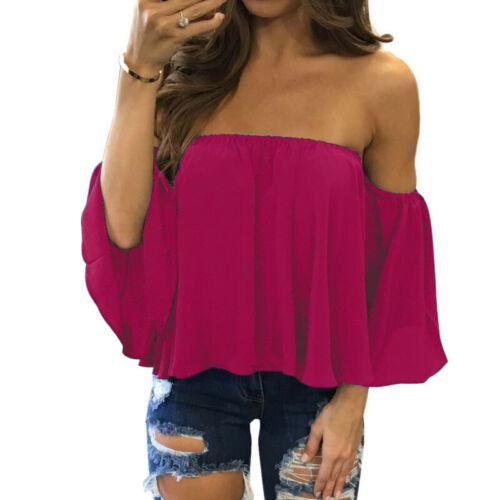 Womens Off Shoulder Chiffon Tops Ladies Bandeau Strapless Summer Blouse T-Shirts