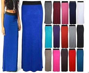 Women-Ladies-Jersey-Maxi-Skirt-Long-Gypsy-Skirt-Bodycon-Summer-Dress-Size-8-14