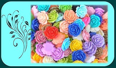 180 pc Flatback Resin Classic Roses Flowers Colour Mix Retro Style Cabochon 20mm
