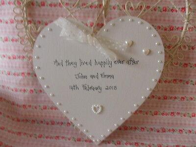 Luminosa Personalizzata Matrimonio Regalo Ricordo Cuore In Legno Stile Shabby Chic Perle (grande)-