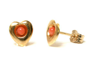 9ct-Gold-Coral-Heart-Stud-earrings-Made-in-UK-Gift-Boxed-Christmas-Xmas-Gift