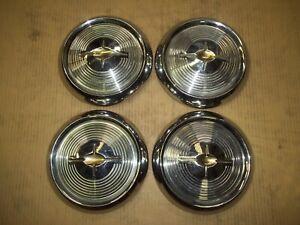 "1957 57 Oldsmobile 88 98 Hubcap Rim Wheel Lug Cover Center Hub Cap OEM 10"" SET"