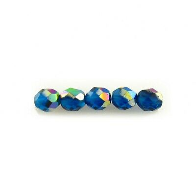 100 Opal Dark Aqua Round Faceted Fire Polished Czech Loose Jewelry Glass Beads