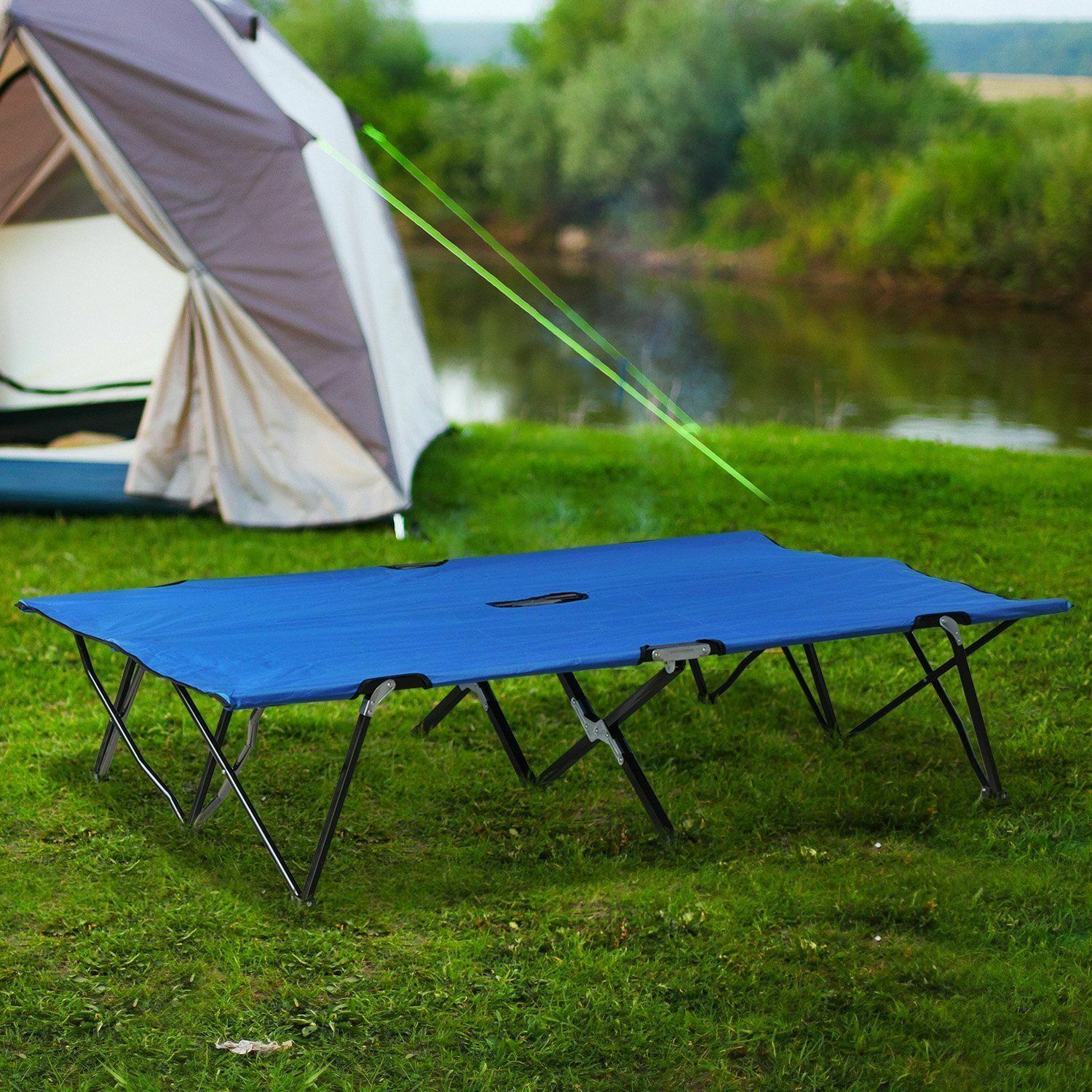 - Outdoor 186cm Portable Quick Folding Steel Frame Camping Camp Bed