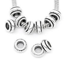 10 Perles Intercalaires pour Bracelet métal argenté 9 x 5 mm