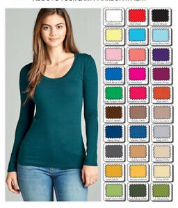 Womens-T-Shirt-Scoop-Long-Sleeve-Active-Basic-Stretch-Light-Weight-Top-S-M-L