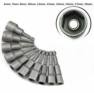 Stecknuss-Set-6-19mm-1-4-034-Magnetic-Tip-10-tlg-Bit-Nuss-Satz-fuer-Bohrmaschine