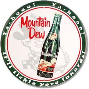 Mountain-Dew-Soda-Pop-Pepsi-Brand-Retro-Vintage-Wall-Decor-Round-Metal-Tin-Sign