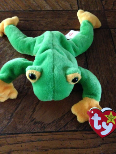 "TY Original Beanie Baby SMOOCHY The Frog 1997 Retired 8.5"" Unstamped Rare"