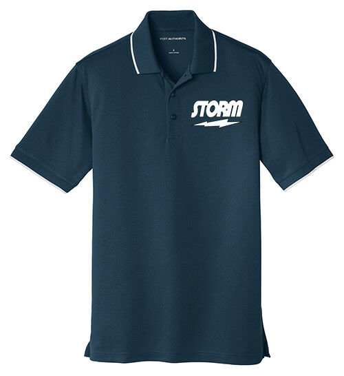 Storm Men's Drive Dry Zone UV Micro-Mesh Tipped Polo Bowling Shirt Navy White