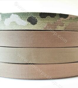 """25mm 1/""""  inch Camouflage Double Sided Polyester Webbing Per Metre"""