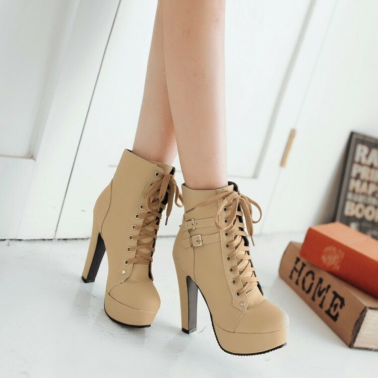 Women Ladies Block Stilettos High Heel Ankle Boots Lace up Buckle Shoes Big Size