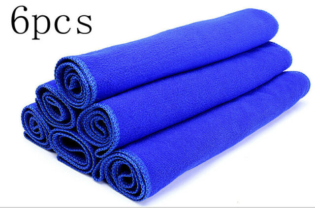 6PCS Blue Microfiber Absorbent Towel Car Clean Wash Polish Multi-function Towel