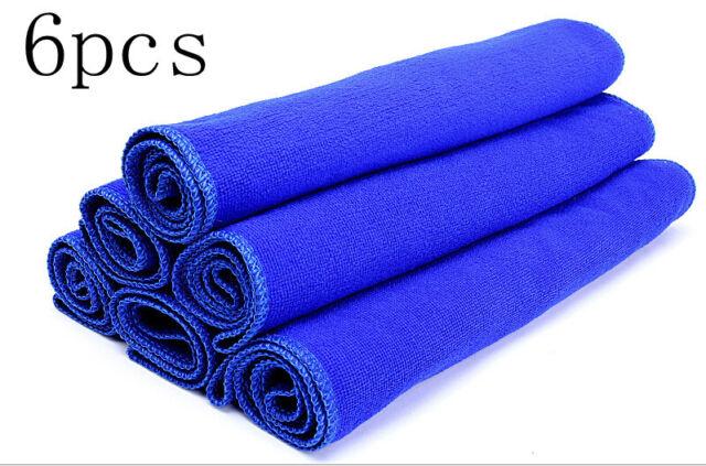 6PCS Blue Microfiber Absorbent Towel Car Clean Wash Polish Multi-function Towel