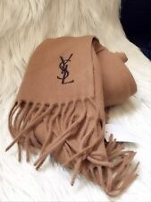 NWT!Yves Saint Laurent 100% WOOL SCARF 12X65 MADE IN ITALY YSL CAMEL/COFFEE LOGO