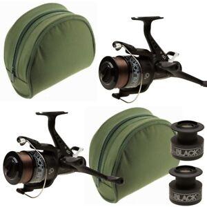 Carp-Reel-x2-Carp-Fishing-Bait-Runner-All-Black-Lineaeffe-60-with-Reel-Cases