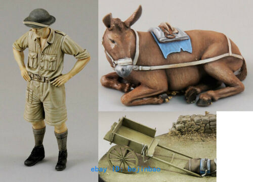 1//35 Modern Soldier With Cow Unpainted Resin Model Kits Unassembled Garage Kit