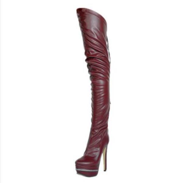 Mujer Mujer Mujer señoras de la plataforma sobre la rodilla botas altas Sz35-47 Stilettos Tacón Alto Zapato 5a4e1a