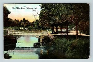 Richmond-IN-Bridge-Glen-Miller-Park-Vintage-Indiana-c1909-Postcard-X62