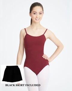 Capezio 9908 Women/'s XL Burgundy Short Sleeve Leotard Tan Tights Black Skirt Set