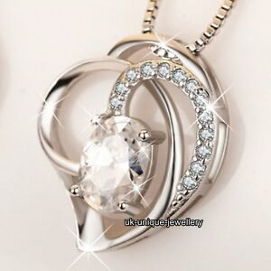 VALENTINE GIFTS FOR HER  925 Silver Crystal Heart Necklace Jewellery Wife Women - London, London, United Kingdom - Returns accepted - London, London, United Kingdom