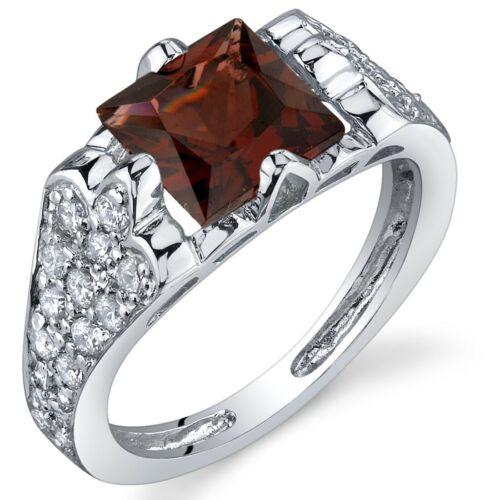 2 carat Princess Cut Garnet Natural Gemstone Ring in Sterling Silver