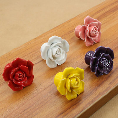 New Rose Ceramic Flower Vintage Knobs Drawer Cupboard Door Porcelain Pull Handle