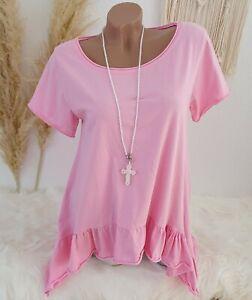 Italy Damen Shirt Oversize Vokuhila Kurzarm Volant Baumwolle 36 38 40 Candy Rosa